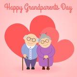 Abuelos felices antes de corazones Personas mayores ilustración del vector