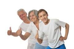 Abuelos felices con el muchacho Fotografía de archivo