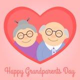 Abuelos felices en corazón Personas mayores Día del ` s del abuelo ilustración del vector