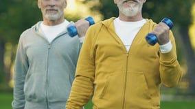 Abuelos juguetones que levantan las pesas de gimnasia que bombean los músculos en el aire fresco, atención sanitaria metrajes