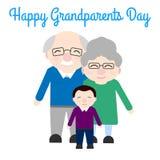 Abuelos lindos con el nieto Día feliz del ` s del abuelo stock de ilustración