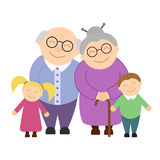 Abuelos lindos con los nietos stock de ilustración