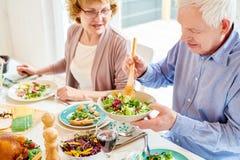 Abuelos que gozan de la comida en la cena de la familia imágenes de archivo libres de regalías