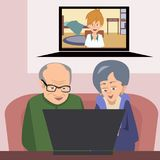 Abuelos que hablan con la familia con el ejemplo del vector del ordenador stock de ilustración