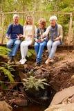 Abuelos y adolescencias en un puente en un bosque, vertical Fotos de archivo libres de regalías