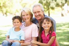Abuelos y nietos que disfrutan del día Imagen de archivo libre de regalías