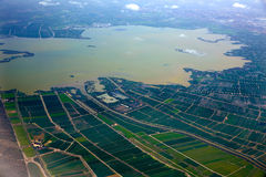 Abufera lake in Valencia aerial west side Stock Photo