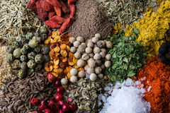 Abundance of color spices Royalty Free Stock Photos