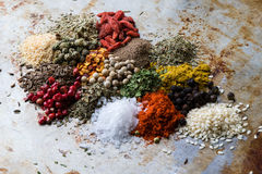Abundance of color spices Stock Images