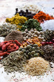 Abundance of color spices Royalty Free Stock Photo