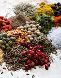 Abundance of color spices Royalty Free Stock Image