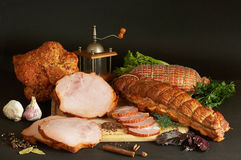 Abundance of Delicacies. Still-life from meat delicacies in a light tonality Stock Photos