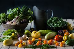 A still life scene of a bounty of fresh produce including tomatoes, turnips, kale, peppers, and cucumbers. stock photo