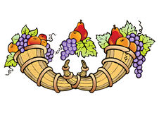 Abundance of fruit crop. Symbol of fertility, prosperity and well-being stock illustration