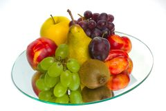 The abundance of fruit on a tray of glass Stock Photo