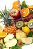 Abundance of fruits. On white Stock Photo