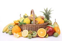 Abundance of fruits. On white Stock Photography