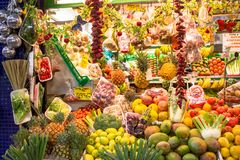 Abundance of fruits and vegetables. Exotic fruits and vegetables on the market in Las Palmas, Gran Canaria Stock Photos