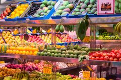 Abundance of fruits and vegetables. Exotic fruits and vegetables on the market in Las Palmas, Gran Canaria Royalty Free Stock Photography