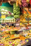 Abundance of fruits and vegetables. Exotic fruits and vegetables on the market in Las Palmas, Gran Canaria Stock Photography