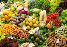 Abundance of fruits and vegetables. In market Royalty Free Stock Photography