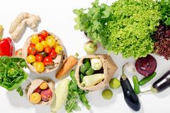 Abundance of healthy food on white background. Top view stock photo