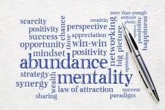 Abundance mentality word cloud. On a textured lokta paper wit a pen stock photos