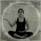 Abundance Mudra. Mixed medium image of a woman meditating with hands in an abundance gesture or mudra Royalty Free Stock Images