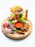 Abundance of raw food and bread Stock Photography