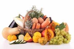 Abundance of vegetable and fruit. On white Royalty Free Stock Photos