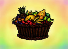 Abundant Fruit Basket (2014). An abstract illustration of a basket filled with sevral kinds of fruits like bananas, apples and more Stock Image