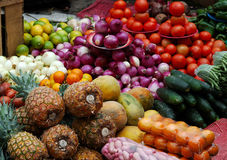 Abundant Fruits And Vegetables. Abundant supply of vegetables and fruit at a South American market Stock Photos
