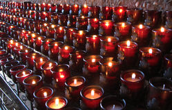 Abundant Red Church Candles Stock Photography