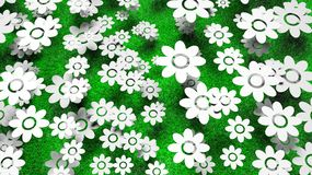 Abundant white flowers on green grass Stock Photo