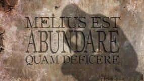 Abundare Melius est quam deficere Lizenzfreie Stockfotografie