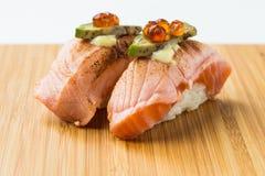 Aburi三文鱼Nigiri寿司 免版税库存图片