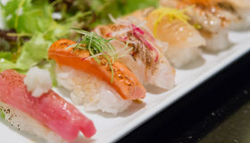 Aburi nigiri sushi japanese food Royalty Free Stock Photo