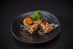 Aburi Salmon Foie Gras Nigiri, saumon et sushi Nigiri de Foie Gras photos stock