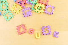 Abuse. Spelled Out with Toys Stock Photos
