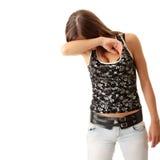 Abuse, Crime. Teen girl frighten, covering her face - abuse crime concept stock photos