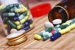 Abuse of prescription pills for diseases Stock Photos