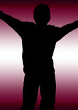 Abuse surrender domestic violence. A young person in silhouette with raised arms to represent  surrender, war, domestic violence, bullying, alone and other Royalty Free Stock Photos