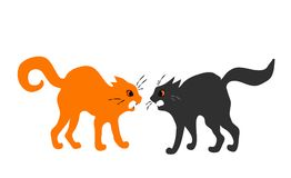 Abuse. Two quarreling cats on white background Royalty Free Stock Image