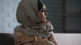 Abused arab female thinking of troubles, desperate woman worrying, anxiety. Stock footage stock video footage
