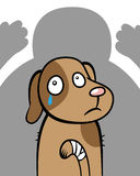 Abused hurt dog animal cruelty. Cartoon vector illustration of an injured dog scared of cruel violent owner, animal cruelty concept Royalty Free Stock Photos