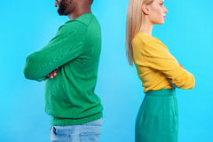 Abused man and woman posing Stock Photo