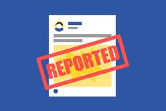 Abusive, inapropriate, hateful post is reported on social networking site. royalty free illustration