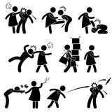 Abusive Wife Girlfriend Weak Husband Boyfriend Pic. A set of pictograms representing man husband being abused by woman wife Stock Images