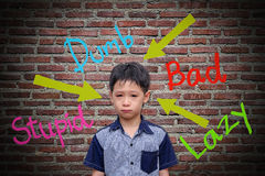 Abusive words hurt on the wall. With crying boy Royalty Free Stock Photo