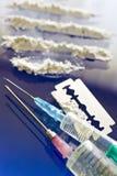 Abuso di stupefacente - uso della droga della cocaina Fotografie Stock Libere da Diritti